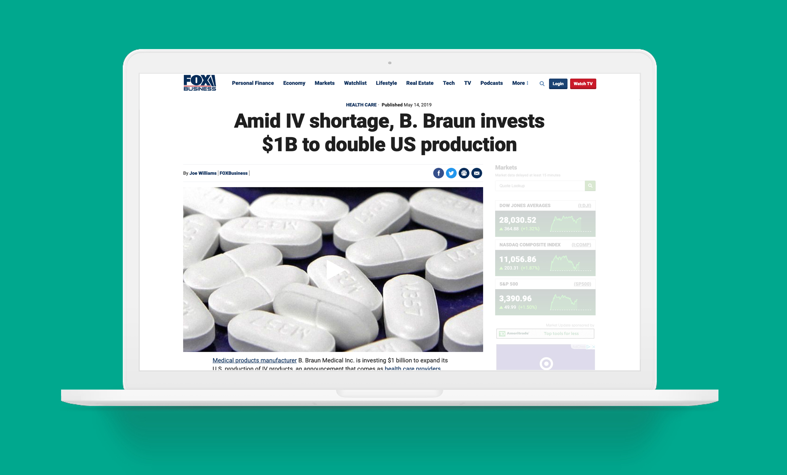 B. Braun feature article in Fox Business